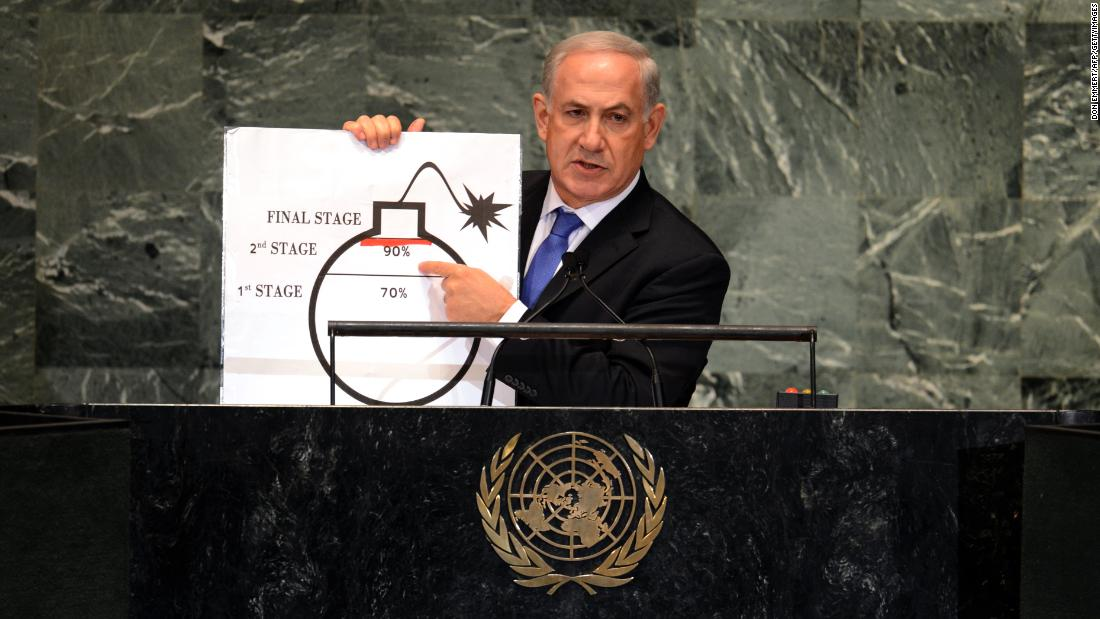 "Netanyahu uses a diagram of a bomb to describe Iran's nuclear program while delivering an address to the U.N. General Assembly on September 27, 2012. Netanyahu exhorted the General Assembly to draw ""a clear red line"" to stop Iran from developing nuclear weapons."