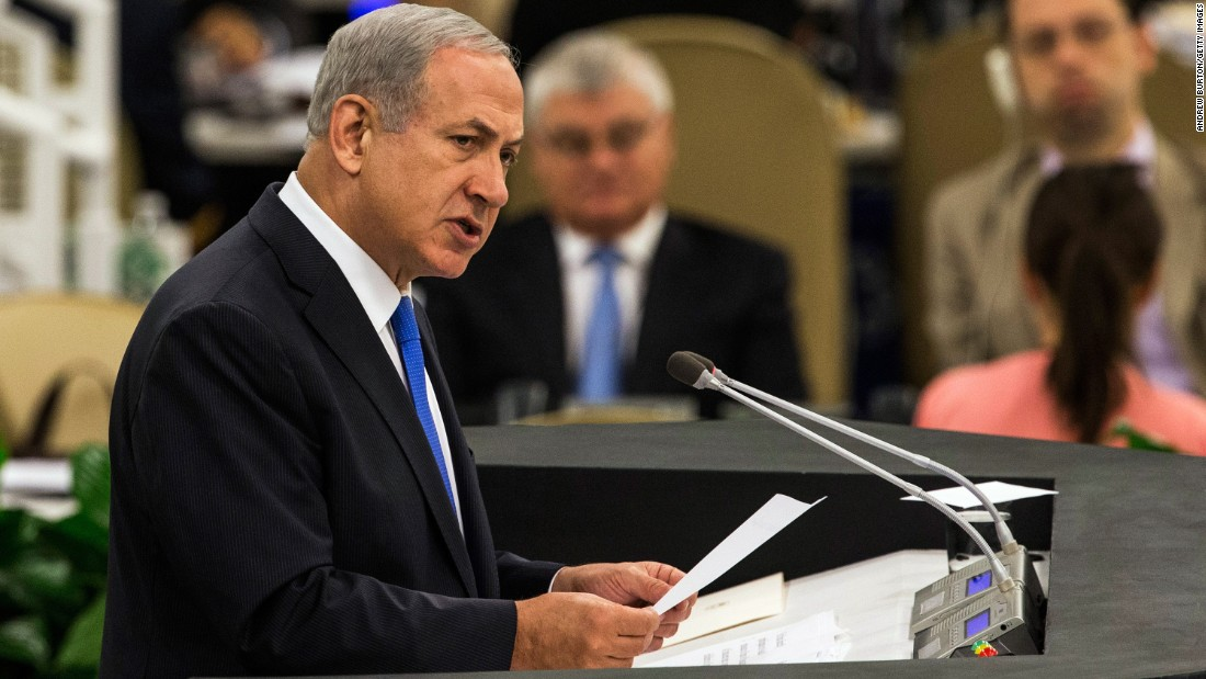 "Netanyahu speaks at the U.N. General Assembly on October 1, 2013. He accused Iranian President Hassan Rouhani of seeking to obtain a nuclear weapon and described him as ""a wolf in sheep's clothing, a wolf who thinks he can pull the wool over the eyes of the international community."""