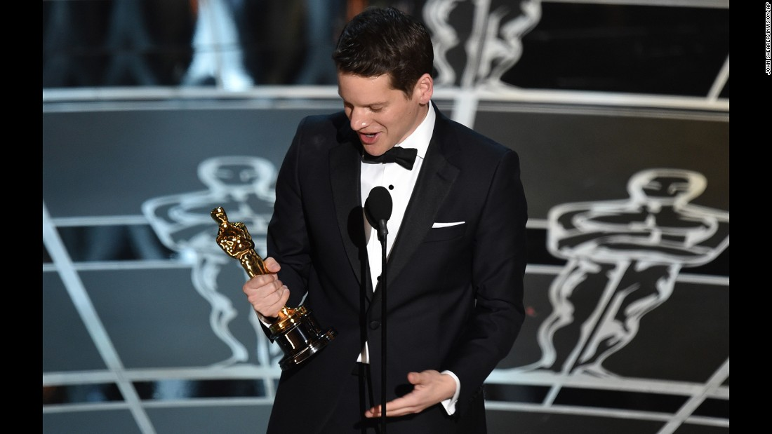 """The Imitation Game"" screenwriter Graham Moore accepts the award for the best adapted screenplay. ""When I was 16 years old, I tried to kill myself because I felt weird. And I felt different. And I felt like I didn't belong,"" he said. ""And now I'm standing here, and so I would like for this moment to be for that kid out there who feels like she's weird or she's different or she doesn't fit in anywhere. Yes, you do. I promise you do. You do. Stay weird; stay different."""