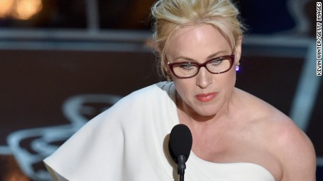 Patricia Arquette accepts the best supporting actress award at the Oscars in February.