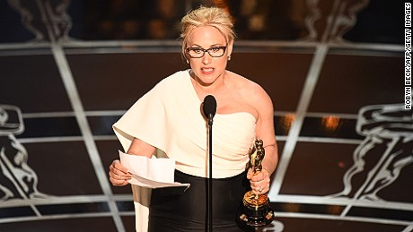 Best Supporting Actress winner Patricia Arquette took to the stage lamented the lack of women's rights in America.