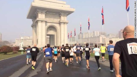 Runners participate in the 2014 edition of the Pyongyang Marathon.