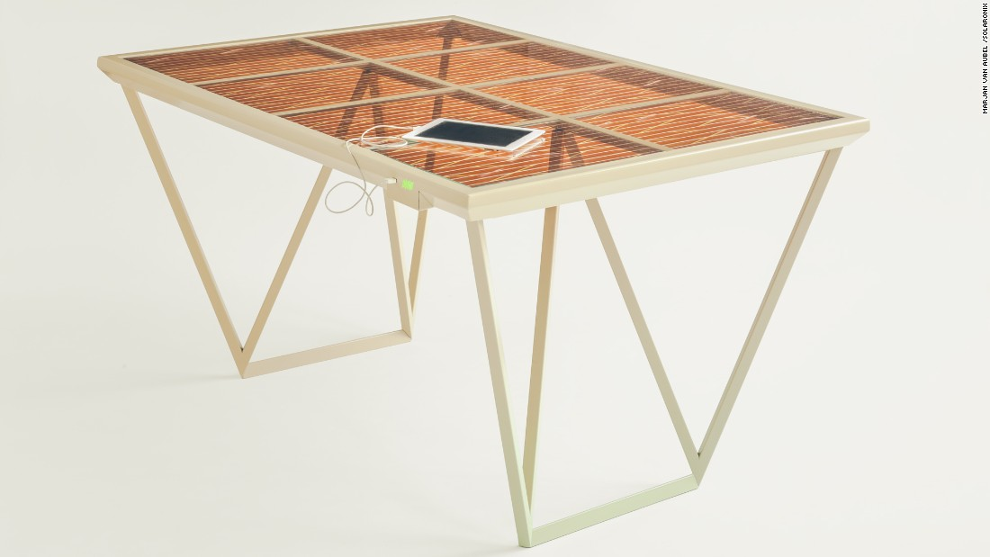 "Designed by Marjan Van Aubel in collaboration with Solaronix, the <a href=""http://www.marjanvanaubel.com/work/current-table/"" target=""_blank"">Current Table</a> harvests daylight to charge electronic devices, using a Dye Sensitive Solar Cell that, unlike conventional solar panels, doesn't need direct sunlight to generate electricity."