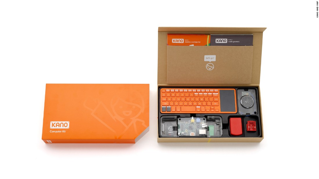 "The<a href=""http://www.kano.me/kit"" target=""_blank""> Kano computer kit </a>is as simple as Lego and powered by Raspberry Pi. Aimed at children and young adults it's intended as an introduction to computer programming and is completely customizable."