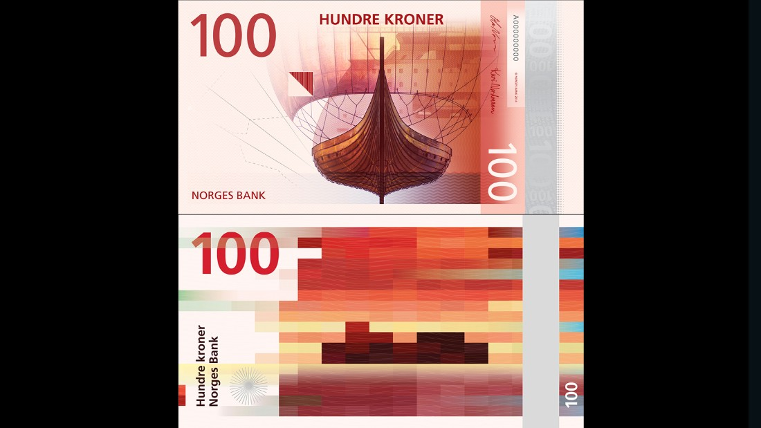 "Jointly conceived by Metric Design and Snøhetta Design, this sea-themed <a href=""http://www.norges-bank.no/en/notes-and-coins/New-banknote-series/Proposed-motifs-for-the-new-banknote-series/"" target=""_blank"">100 Kroner note</a> features a pixel-based design on one side and a more traditional illustration on the reverse."