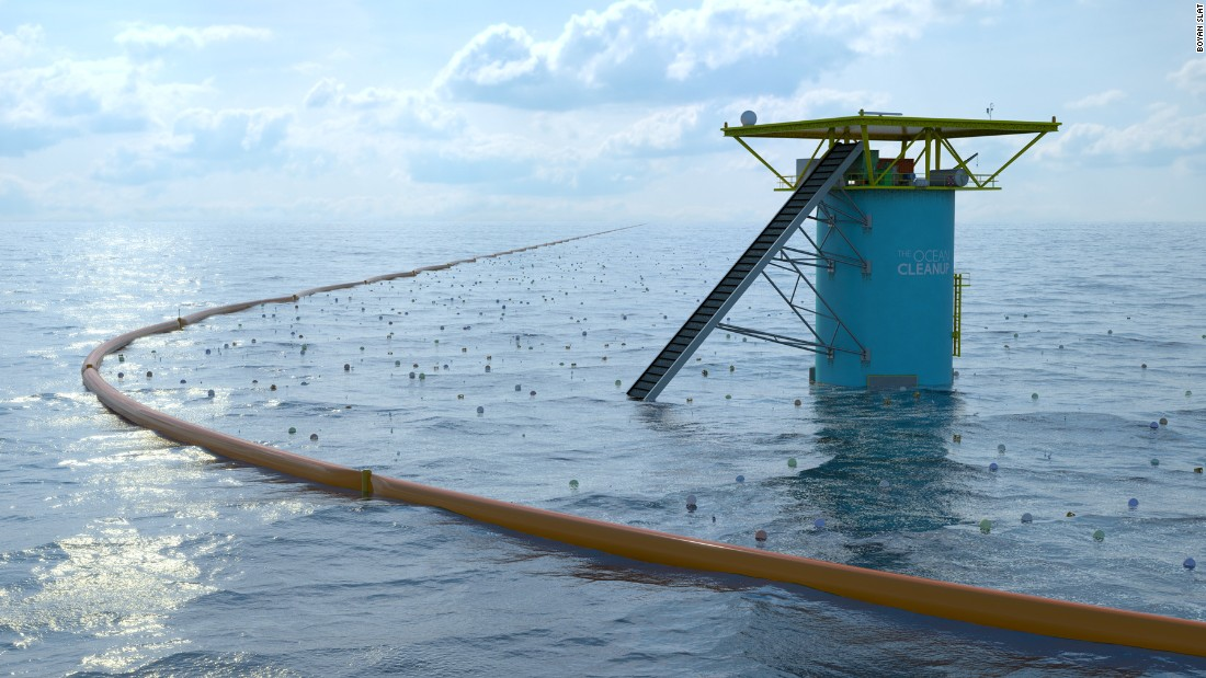 "<a href=""http://www.theoceancleanup.com/"" target=""_blank"">The Ocean Clean-Up</a> by Boyan Slat, Jan de Sonneville and Erwin Zwart has crowdfunded over $2 million thus far. The money will be used to begin implementing what they claim will be the largest clean-up in history, collecting floating plastic from the oceans' surfaces."