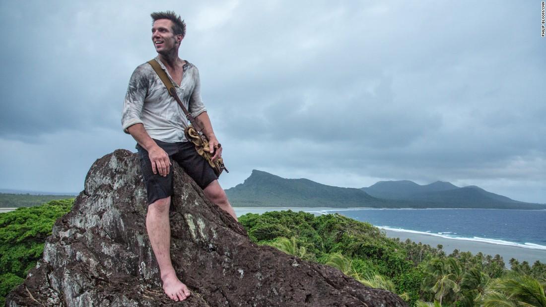 Bill Weir takes in the vista after a long climb, atop a jagged, rocky peak on Rah Island, near Mota Lava, Vanuatu.