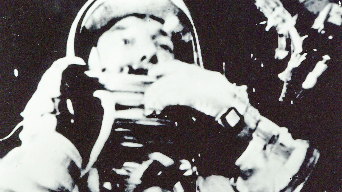 Astronaut Alan Shepard is pictured in his Mercury spacesuit aboard Freedom 7 during the United States' first human spaceflight on May 5, 1961.