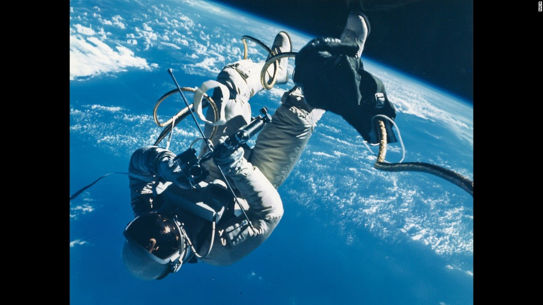 During the Gemini 4 mission in June 1965, Ed White became the first American to perform a spacewalk. He floated in space 135 miles above Earth for 20 minutes.