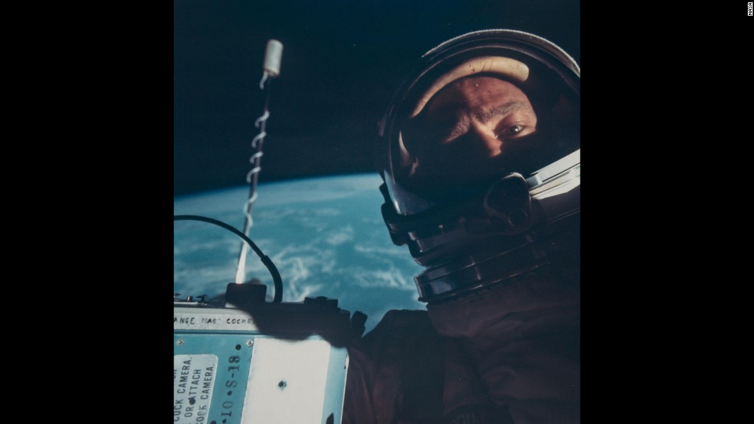 Buzz Aldrin takes the first selfie in space during the Gemini 12 mission in November 1966.