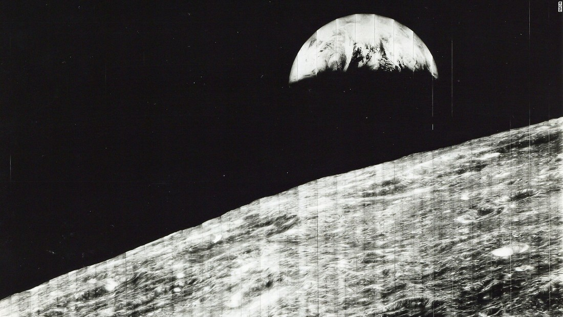 The first view of the Earth from the moon was taken by a spacecraft on August 23, 1966. It is a sight that has only ever been seen by the later Apollo astronauts as they came around the far side of the moon.