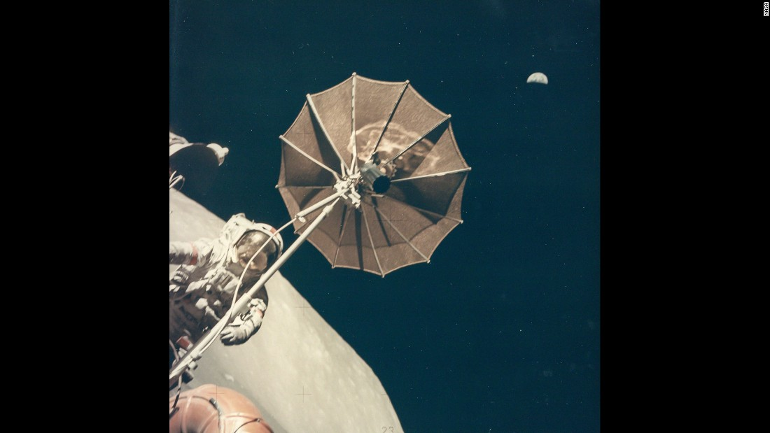 "Earth is seen above Eugene Cernan and the antenna of the lunar rover during Apollo 17 in December 1972. It was the final mission of the Apollo program. ""I thought about it when we left the surface,"" Cernan said. ""I just felt it might very well be a generation before we get back to the moon. I'm probably going to be proven to be right."""