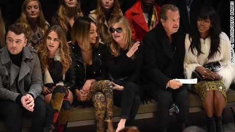The front row at Burberry caused as much of a stir (if not more) than the clothes themselves. Sam Smith, Cara Delevingne, Jourdan Dunn, Kate Moss, photographer Mario Testino and Naomi Campbell were all in attendance. (Dunn and Campbell are faces of the brand's Spring/Summer 2015 campaign.)