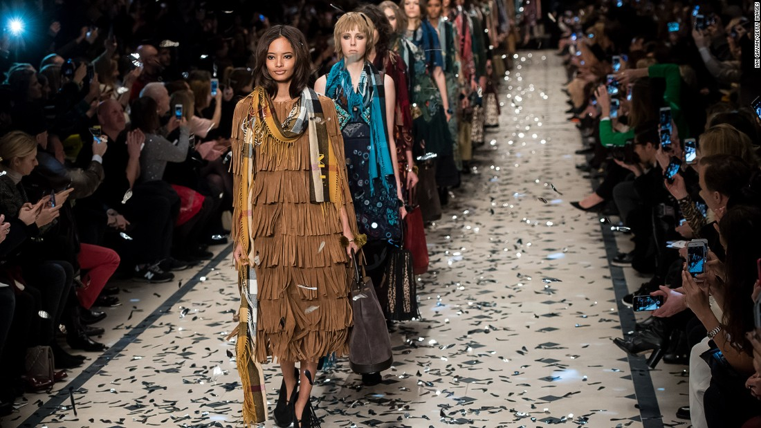 "On the runway, Burberry designer Christopher Bailey's ""Patchwork, Pattern & Prints"" was a nod to Seventies bohemians."