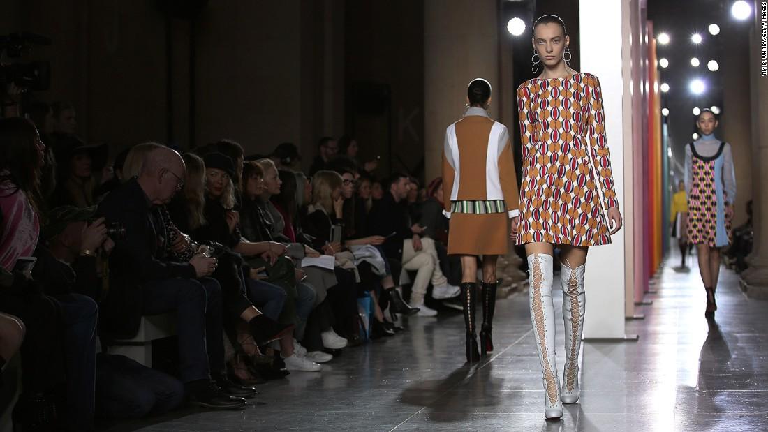 Jonathan Saunders, meanwhile, channeled the Sixties with busy prints, stripes and A-line silhouettes.