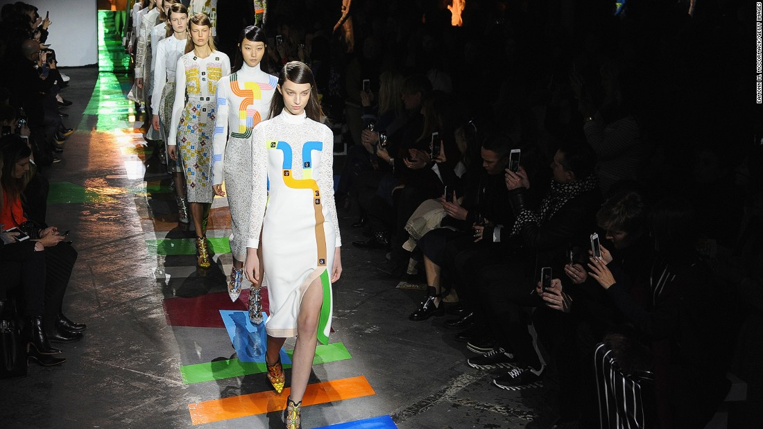 Both the runway and clothes at Peter Pilotto were decorated with game board-like designs.