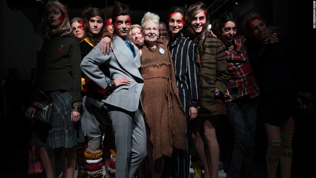 Dame Vivienne Westwood closed out her Red Label show by walking the runway with the models.