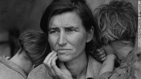 "The image that has become known as ""Migrant Mother"" is one of a series of photographs that Dorothea Lange made of Florence Owens Thompson and her children in February or March of 1936 in Nipomo, California. Lange was concluding a month's trip photographing migratory farm labor around the state for what was then the Resettlement Administration."