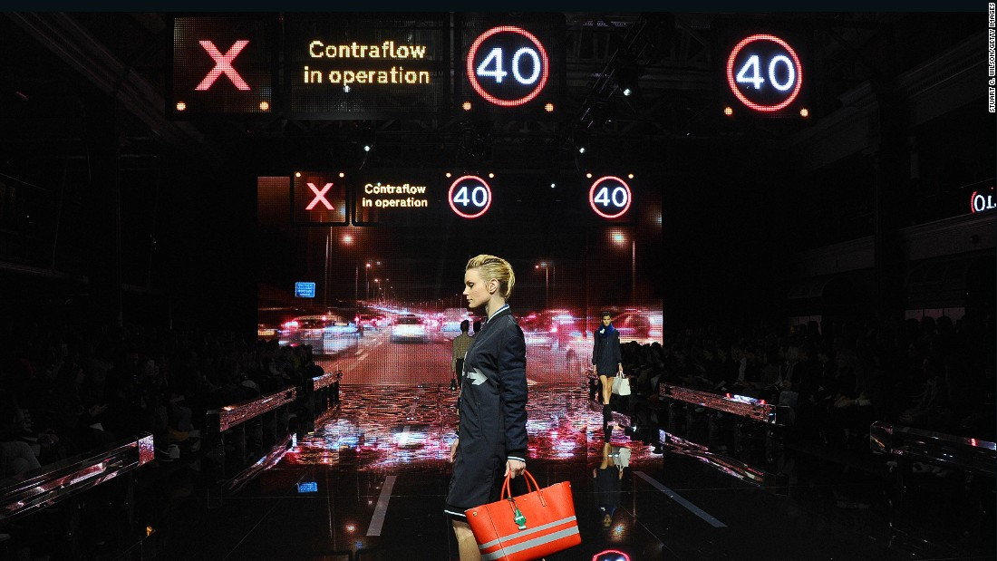 The runway was a motorway at Anya Hindmarch, complete with uniformed road workers.