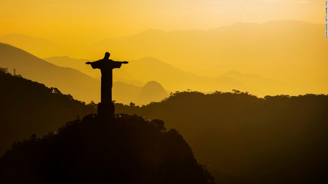 The Christ the Redeemer statue stands over the popular Tijuca National Park in Brazil.