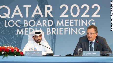 Jerome Valcke (r) addressed reporters alongside Hassan al-Thawadi, the head of Qatar's World Cup Organizing Committee.