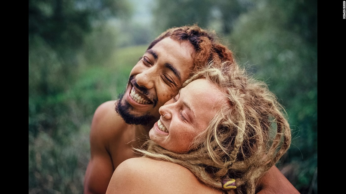 It's all smiles for these two at the Hungary World Rainbow Gathering in 2014.