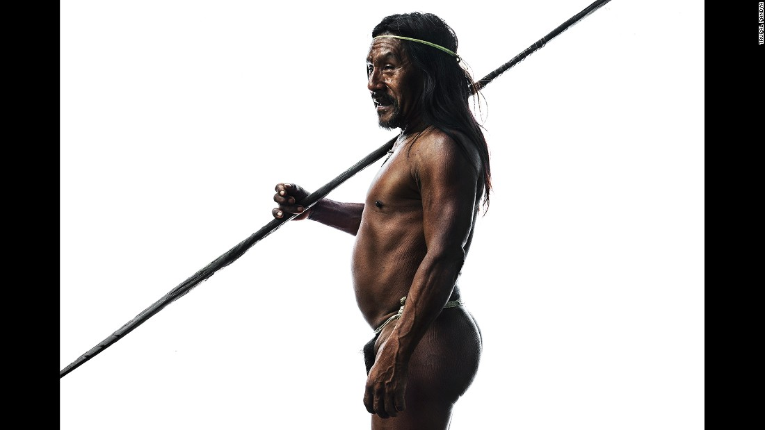 A portrait of Omayewei, one of the Huaorani people photographed by Trupal Pandya in Ecuador. Omayewei is an elder in his community, making him one of the few who still live a very primal or authentic way of life, Pandya said.