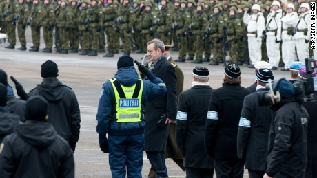 Estonian President Toomas Hendrik Ilves reviews the troop ahead of a military parade to celebrate 97 years since first achieving independence in 1918 on February 24, 2015 in Narva, Estonia. The town, on Estonia's border with Russia, has been at the centre of discussion relating to the potential threat from Russia, which, since the annexation of Crimea and conflict in eastern Ukraine, has caused concern in both the Baltic states and NATO. AFP PHOTO / RAIGO PAJULARAIGO PAJULA/AFP/Getty Images