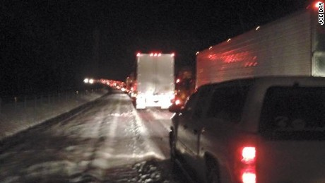 Traffic headed north on I-65 was backed up for miles on February 25, 2015, as snow, ice and sleet made driving difficult.