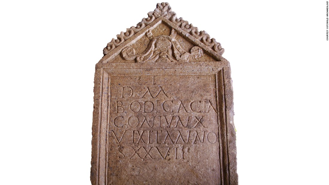 "A rare Roman tombstone found in Gloucestershire, England, weeks ago was turned over Wednesday to reveal an inscription: ""To the spirits of the departed/Bodicacia/faithful wife/died aged 27,"" <a href=""http://www.cotswoldarchaeology.co.uk/exciting-news-incredibly-rare-roman-tombstone-found-in-cirencester/"" target=""_blank"">according to a preliminary translation by Cotswold Archeology</a>."