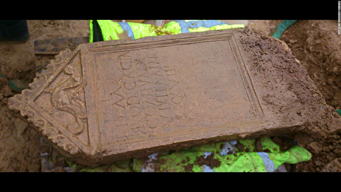 Along with the inscription, the tombstone features a carving that is believed to depict Oceanus, the god of the sea.