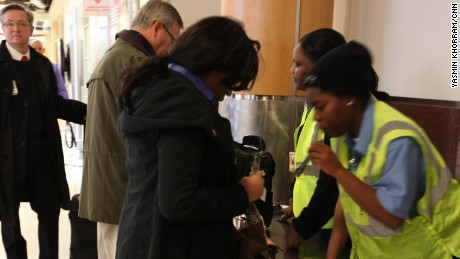 Atlanta airport security checks employee belongings. (Photo by Yasmin Khorram/CNN)