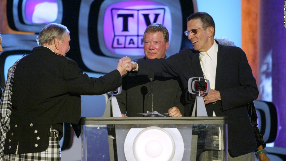 "James Doohan (Scotty), William Shatner (Kirk) and Nimoy accept a Pop Culture Award for ""Star Trek"" during the TV Land Awards in 2003."