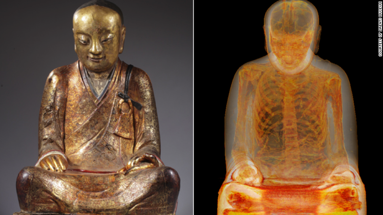 Mummified monk found in ancient statue