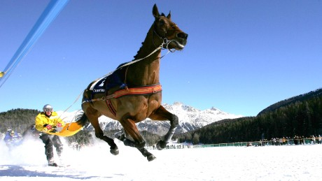 St Moritz hosts three horse skijoring races a year.
