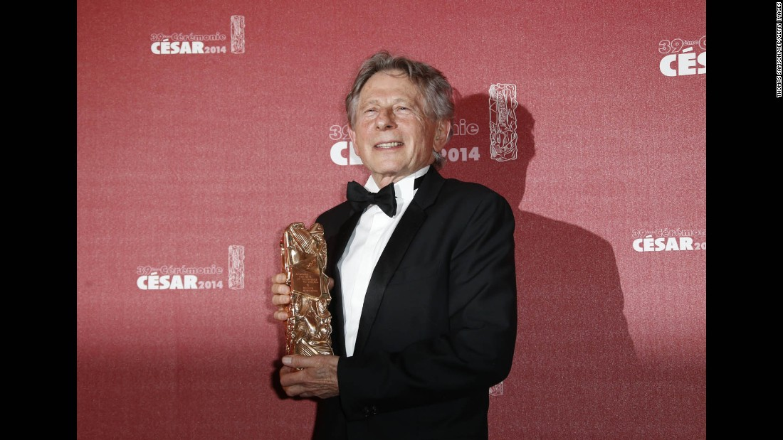 Polanski poses with his Cesar Award for best director in Paris in February 2014.