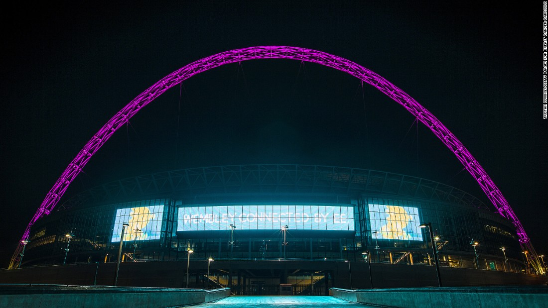 Twitter will play a part in the English League Cup final between Chelsea and Tottenham Hotspur on Sunday. Wembley Stadium's famous arch, shown here glowing pink for a breast cancer awareness campaign, will turn blue or white depending on which team's hashtag is most popular.