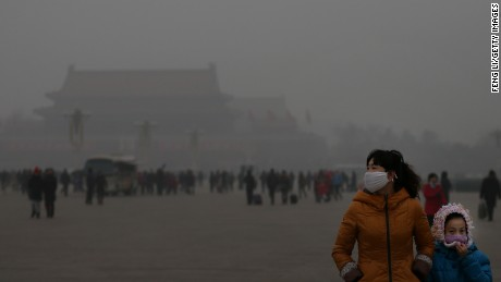 Air pollution in Beijing, 2013.