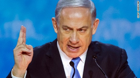 Israeli Prime Minister Benjamin Netanyahu gestures while  addressing the 2015  American Israel Public Affairs Committee (AIPAC) Policy Conference in Washington, Monday, March 2, 2015. (AP Photo/Cliff Owen)