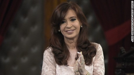 Argentine President Cristina Fernandez de Kirchner claps before giving her speech during the inauguration of the 133th period of ordinary sessions at the Congress in Buenos Aires on March 1, 2015