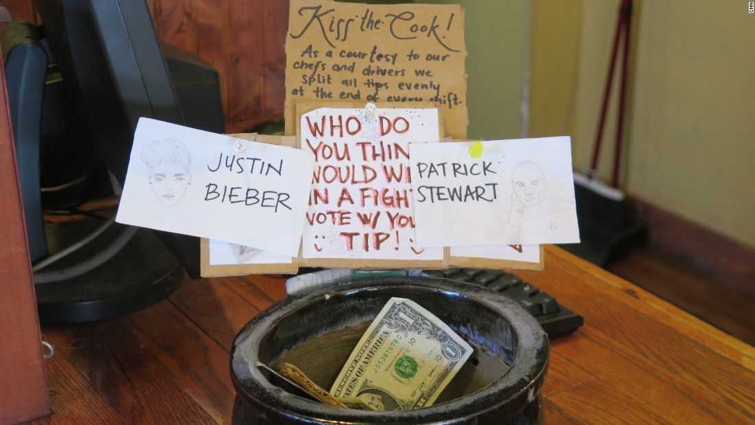 "Some places get creative with tip solicitations. Who'd win in a battle between Patrick Stewart and the Beebs? You can ""vote"" with your tip at the Oasis Cafe in Portland, Oregon."