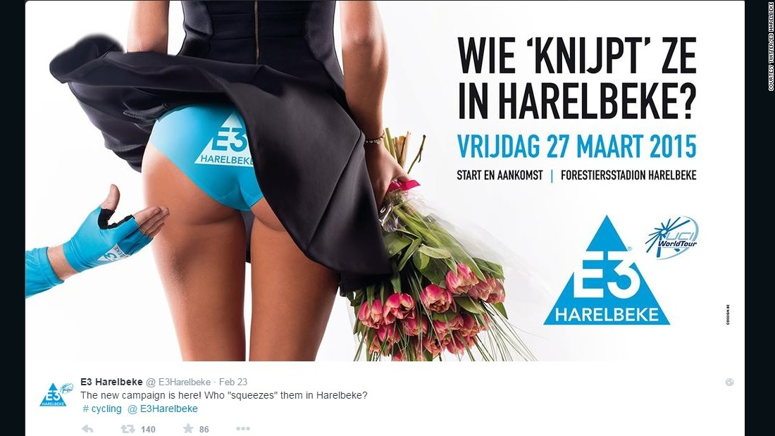 "The poster above appeared on cycling team E3 Harelbeke's Twitter feed, advertising a competition in 2015. Read more about that by <a href=""http://edition.cnn.com/2015/03/04/sport/e3-harelbeke-cycling-sexism-poster"">following this link</a>."