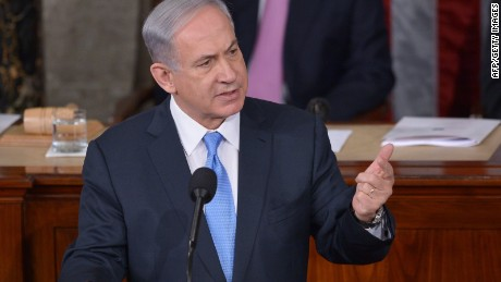 Israel's Prime Minister Benjamin Netanyahu addresses a joint session of the US Congress on March 3, 2015 at the US Capitol in Washington, DC. Netanyahu was invited by House Speaker John Boehner to address Congress without informing the White House. AFP PHOTO / MANDEL NGAN