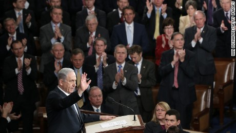 Israeli Prime Minister Benjamin Netanyahu acknowledges a standing ovation after addressing a joint meeting of the United States Congress in the House chamber at the U.S. Capitol March 3, 2015 in Washington, DC.