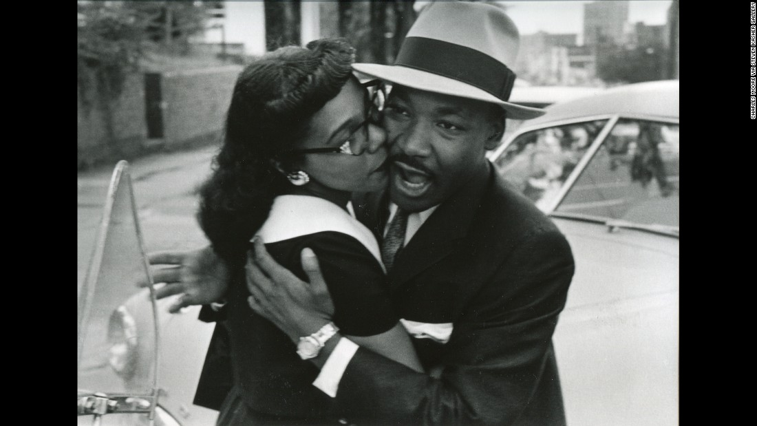 King and his wife, Coretta, embrace in Montgomery, Alabama, in 1958.