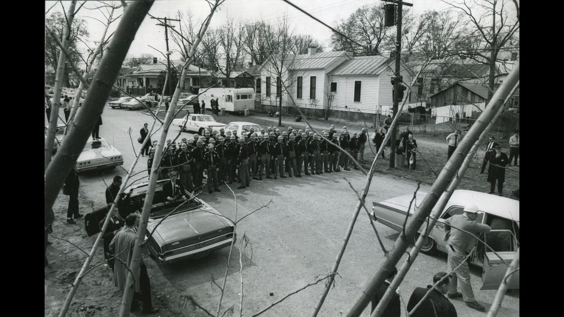 "State police form a barricade as they wait for marchers on ""Bloody Sunday."""
