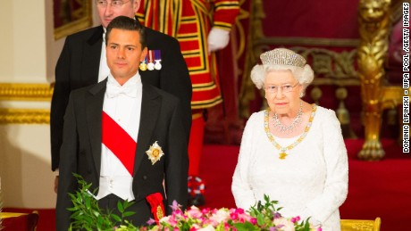 LONDON, ENGLAND - MARCH 03: President of Mexico Enrique Pena Nieto and Queen Elizabeth II during a state banquet at Buckingham Palace on March 3, 2015 in London, England. The President of Mexico, accompanied by Senora Angelica Rivera de Pena, are on a State Visit to the United Kingdom as the guests of Her Majesty The Queen from Tuesday 3rd March to Thursday 5th March.