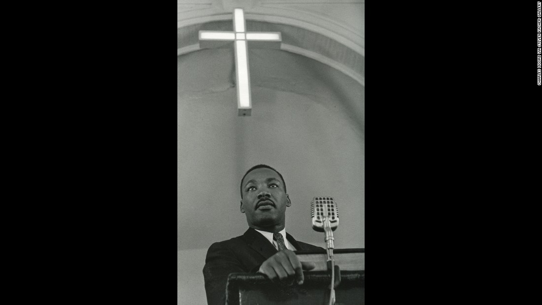In 1958, King addresses a meeting of the Montgomery Improvement Association, which was founded in 1955 to organize a bus boycott.