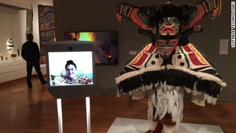 Kavita Krishnaswamy tours the Seattle Museum of Art from her home using a Beam telepresence robot.