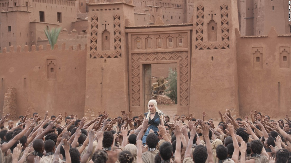 "The southern Moroccan town of Ouarzazate and its surrounding areas have been home to several international TV and film productions, including scenes for the global hit ""Game of Thrones."" In this scene from the 10th episode of the third series of the TV show, the character Daenerys Targaryen is a princess living in exile -- the filming took place near  Ouarzazate."